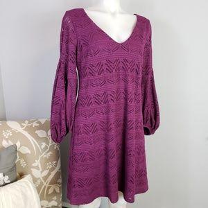 762ea7ff69d9 Anthropologie Dresses | Maeve Laila Lace Balloon Sleeve Purple Dress ...